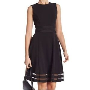 Calvin Klein Illusion Trim Fit and Flare Dress